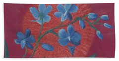Blue Flower On Magenta Bath Towel