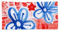 Blue Flowers- Floral Painting Bath Towel