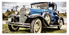 Blue Ford Model A Car Hand Towel