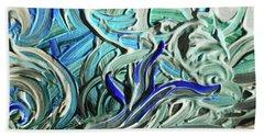 Blue Gray Acrylic Brush Strokes Abstract For Interior Decor I  Hand Towel