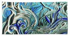Blue Gray Acrylic Brush Strokes Abstract For Interior Decor IIi Hand Towel