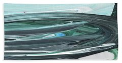 Blue Gray Brush Strokes Abstract Art For Interior Decor V Hand Towel