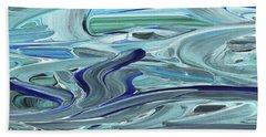 Blue Gray Brush Strokes Abstract Art For Interior Decor Vii Hand Towel