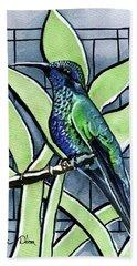 Blue Green Hummingbird Bath Towel