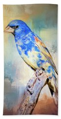 Blue Grosbeak Bath Towel by Barbara Manis
