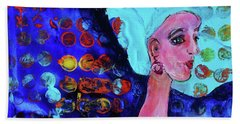 Blue Haired Girl On Windy Day Hand Towel
