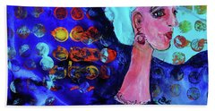 Bath Towel featuring the painting Blue Haired Girl On Windy Day by Claire Bull