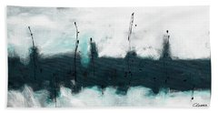Hand Towel featuring the painting Blue Harbour by Carmen Guedez