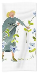 Bath Towel featuring the painting Blue Harvest by Leanne WILKES