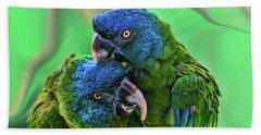 Blue Headed Macaws Hand Towel