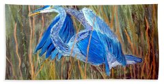 Blue Heron In Viera  Florida Bath Towel