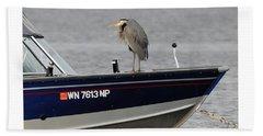 Blue Heron Boat Ride Bath Towel
