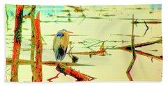Blue Heron Hand Towel by Dale Stillman