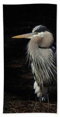 Hand Towel featuring the photograph Blue Heron Gaze by Deborah Smith