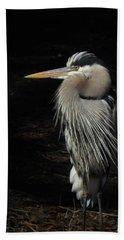 Blue Heron Gaze Bath Towel by Deborah Smith