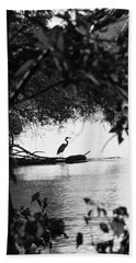 Blue Heron In Black And White. Bath Towel