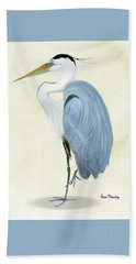 Blue Heron In Oil Hand Towel by Anne Beverley-Stamps