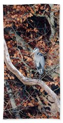 Blue Heron In Tree Bath Towel