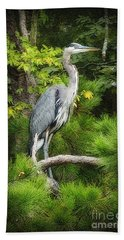 Hand Towel featuring the photograph Blue Heron by Lydia Holly