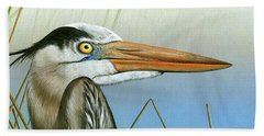 Blue Heron  Bath Towel by Mike Brown