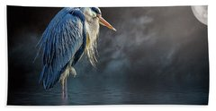Blue Heron Moon Bath Towel by Brian Tarr
