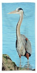 Blue Heron On The Hunt Bath Towel
