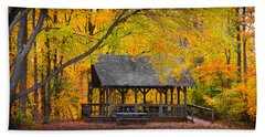 Blue Heron Park In The Fall Hand Towel by Kenneth Cole