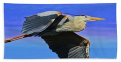 Hand Towel featuring the painting Blue Heron Series Fly by Deborah Benoit