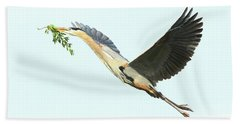 Hand Towel featuring the photograph Blue Heron Series Twig 2017 by Deborah Benoit
