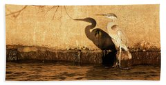 Blue Heron Shadow Bath Towel