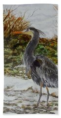 Blue Heron Bath Towel by Sher Nasser