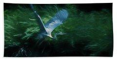 Blue Heron Take Off Bath Towel