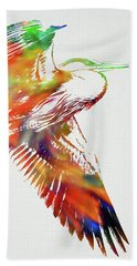 Blue Heron Wild Animals Of The World Watercolor Series On White Canvas 002 Hand Towel