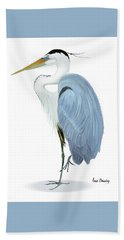 Blue Heron With No Background Bath Towel