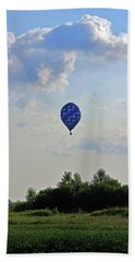 Hand Towel featuring the photograph Blue Hot Air Balloon by Angela Murdock