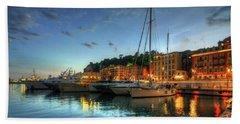 Bath Towel featuring the photograph Blue Hour At Port Nice 2.0 by Yhun Suarez