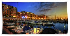 Bath Towel featuring the photograph Blue Hour At Port Nice 1.0 by Yhun Suarez