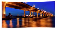 Blue Hour At Roosevelt Bridge In Stuart Florida  Hand Towel