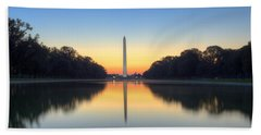 Blue Hour At The Mall Hand Towel by Edward Kreis
