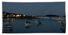 Blue Hour Boats In Maine Bath Towel