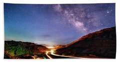 Blue Hour Milky Way Over Moab Hand Towel