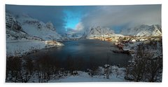 Bath Towel featuring the photograph Blue Hour Over Reine by Dubi Roman