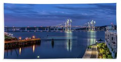 Blue Hour Over The Hudson Bath Towel by Jeffrey Friedkin