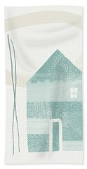 Blue House In Moonlight- Art By Linda Woods Hand Towel