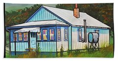 Blue House With Quilted Windows Hand Towel