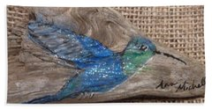 Blue Hummingbird Bath Towel