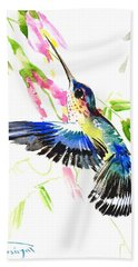 Blue Hummingbird Hand Towel