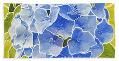 Blue Hydrangea Stained Glass Look Hand Towel