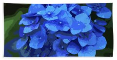 Blue Hydrangea Stylized Bath Towel by Sharon Talson