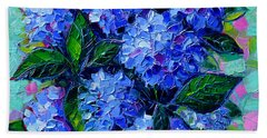 Blue Hydrangeas - Abstract Floral Composition Hand Towel